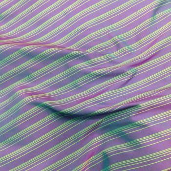 Soie imprimée violette à rayures vertes
