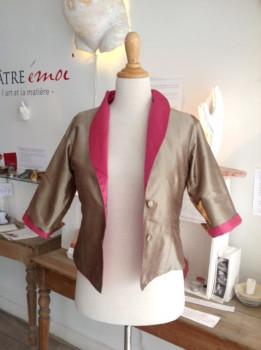 Veste Garbo taupe grisé et rose désert en T36/38